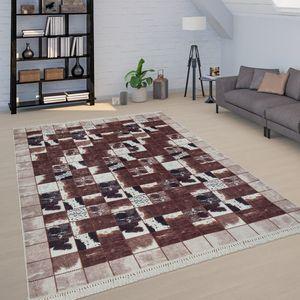 Patchwork Teppich Braun Weiß Wohnzimmer Kuhflecken Karo Design Weich Kurzflor, Grösse:120x160 cm