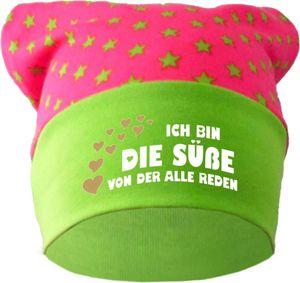 Baby KOPFTUCH Mütze (Farbe pink-lime) (Gr. 1 (56-74) Ich bin die Suesse von der alle reden