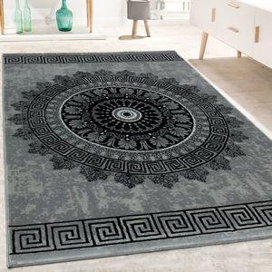 Designer Teppich Wohnzimmer Mandala Muster Kurzflor Barock Stil In Grau Schwarz, Grösse:160x230 cm