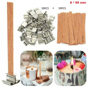 100Pcs wooden candle wick, wick candle making supplies, with iron shelf kit(8 * 90 mm)