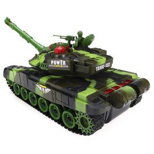 54cm Battle Panzer Fernbedienung 2.4Ghz RC Ferngesteuerter Tank Kettenfahrzeug mit LED Kinder Spielzeug Geschenk , Grün