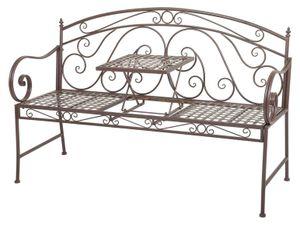 Gartenbank Schmiedeseisen ausklapp Tisch Bank Metall Metallbank Parkbank Garten farbe braun
