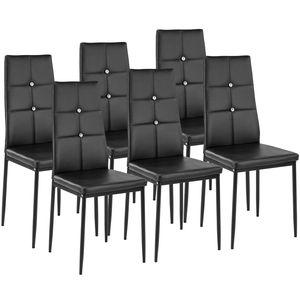 tectake 6 Esszimmerstühle, Kunstleder mit Glitzersteinen - schwarz