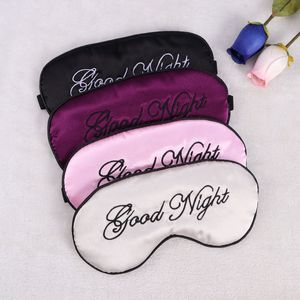 Seide Schlaf Augenmaske Stickerei Eyeshade große Augenbinde Nacht Blinder für Männer, Frauen und Kinder (schwarz und schwarz eingezogene Linie)