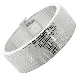 Armreif Armband Silber 925 beweglich Karomuster poliert rhodiniert Damen 21