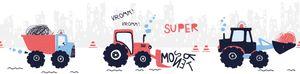 Lovely Kids selbstklebende Kinderzimmer Bordüre Super Tractor rot blau schwarz weiß 5,00 m x 0,155 m