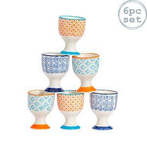 Nicola Spring 6 Stück Hand Printed Eierbecher Set - Porzellan Frühstück hart weich gekochte Eier Halter - 3 Farben