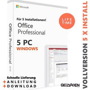 Microsoft Office 2019 Professional Plus 5PC 5x Installationen