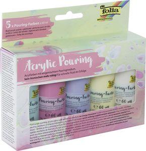 "folia Acrylic Pouring-Farbe ""PASTELL"" farbig sortiert 5 Flaschen á 60 ml"