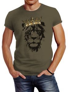 Herren T-Shirt König der Tiere Löwen-Kopf mit Krone Slim Fit Neverless® army L