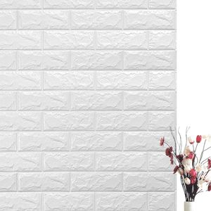 20 tlg 3D Tapete Wandpaneele Selbstklebend Ziegel Wandaufkleber Weiß 70 x 77 cm