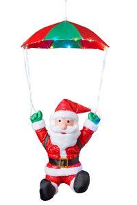 Weihnachtsmann am Fallschirm mit 30 bunten LEDs beleuchtet, fliegender Nikolaus für Innen- und Außen, mit Timer (traditionell - Fallschirm)