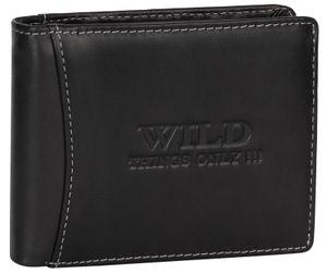 RFID echt Leder Portemonnaie Geldbörse Geldbeutel Herren  Querformat Schwarz .