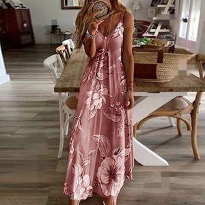 Damen Sommer Blumen Langes Kleid Damen Boho Beach Holiday Maxikleid Größe S-5Xl,Farbe: Rosa,Größe:M