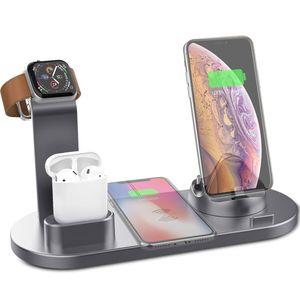 Kabelloses Ladegerät, 3 in 1 Qi 10W Schnellladestation für Apple iWatch Serie 5/4/3/2/1, AirPods, Ladestation Ständer Kompatibel mit iPhone 11 Serie/XS MAX/XR/XS/X/8/8 Plus/Samsung