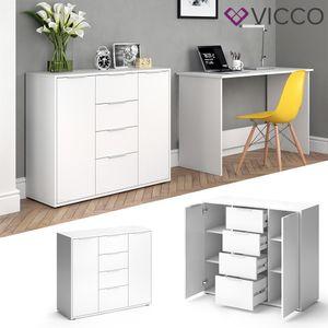 VICCO Sideboard LEON Kommode Schrank Weiß Fernsehschrank TV Anrichte Highboard