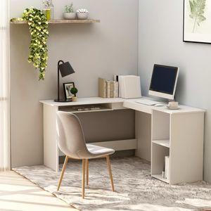 Eckschreibtisch in L-Form Schreibtisch Bürotisch Computertisch   Arbeitstisch PC Tisch Vintage Weiß 120×140×75 cm Spanplatte   9304