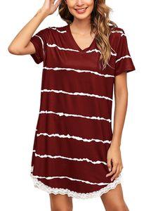 Langes Kurzarm-Spitzenkleid für Damen zu Hause,Farbe: Rotwein,Größe:5XL