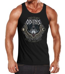 Herren Tanktop Lieber ein Wolf Odins als ein Lamm Gotte Muskelshirt Tank Top Muscle Shirt Achselshirt Moonworks® schwarz XXL