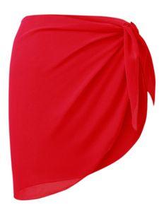 Damen Bikini Strand vertuschen Chiffon Rock Kleid Badeanzug Wickel Badeanzug Rock,Farbe: Rot,Größe:Einheitsgröße