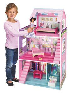 riesengroßes Holz Puppenhaus Puppenvilla Villa rosa 3 Stockwerke 106x61x29cm
