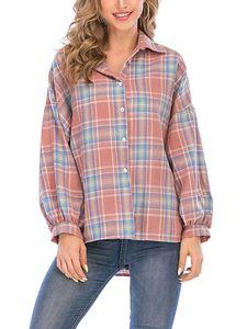 Damen Plaid Langarmhemd Casual Loose Cardigan Einheitsgröße Top,Farbe: Rot,Größe:Einheitsgröße
