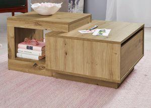 Couchtisch Wohnzimmer Tisch Eiche Artisan Nb. mit Schublade Design Beistelltisch Universal 60 x 91 cm
