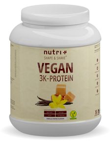 Protein Vegan 1kg - 84,1% pflanzliches Eiweiß - Nutri-Plus Shape & Shake 3k-Proteinpulver - Veganes Eiweißpulver ohne Laktose & Milcheiweiß - Vanille-Toffee