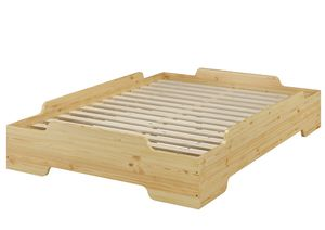 Stapelbett, Jugend Bett, Designer Bett 140x200 Massivholz Kiefer mit Rollrost 60.56-14