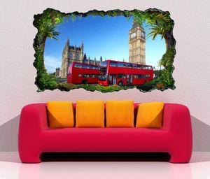 3D Wandtattoo Skyline London rot Bus Retro selbstklebend Wandbild Wandsticker Wohnzimmer Wand Aufkleber 11O1001, Wandbild Größe F:ca. 97cmx57cm