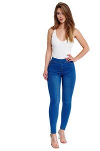 Damen Jeans Hose Denim Stretch Röhrenjeans Vintage Skinny Pants, Farben:Blau, Größe:S-M