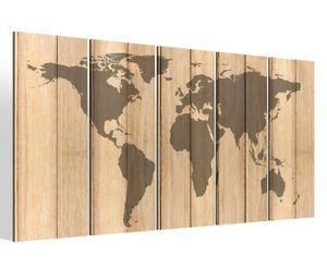 Leinwandbilder 5 teilig XXL 200x100cm Karte Welt Weltkarte Holz effekt braun Landkarte Afrika map alt Druck auf Leinwand Bild 9BM329