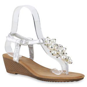 Mytrendshoe Damen Zehentrenner Sandaletten Keilabsatz Schuh Zierperlen 830619, Farbe: Silber, Größe: 36