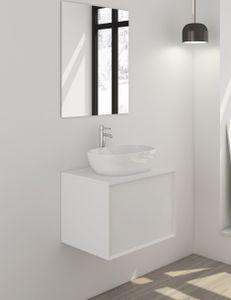 SalesFever Badezimmer Set 2-tlg. | 60 cm | inkl. Aufsatz-Waschschale | B 214 x T 48 x H 50 cm | weiß matt