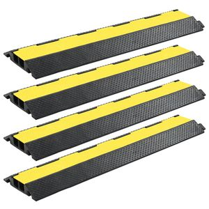 Huicheng 4 Stück Kabelbrücken Überfahrschutz 2 Kanäle Gummi 101,5 cm   je Höchstgewicht von 25 Tonnen   Gelb und Schwarz
