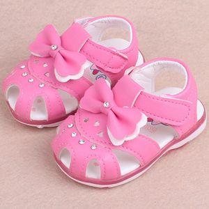 Prinzessin Mädchen Baby Sonnenbogen Knoten Beleuchtung Strand Sandalen Mädchen Süße weiche Schuhe Größe:20.5,Farbe:Pink
