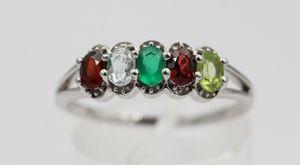 1  Carat Edesltein Ring 925 Silber Onyx Granat Blautopas Peridot Gr 8 / 18 / 57