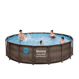Bestway 56725 Power Steel Swim Vista oberirdischer Pool runder Rattaneffekt 488x122cmGestalten: Round, Maße: 4 - 4,99 m, Höhe (cm): 122, Breite (cm): 488, Zusammensetzung: PVC, Länge (cm): 488, Filterpumpe: 58389