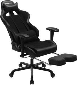 SONGMICS Gaming Stuhl mit Fußstütze, 150 kg, Bürostuhl, Schreibtischstuhl ergonomisch Stahl Kunstleder atmungsaktives Meshgewebe schwarz RCG52BK