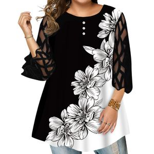 LAPA Damen Plus Size Top Spitze Hohl Ärmel Blumendruck Bluse Loose Casual T-Shirt Farbe Schwarz,Größe XL