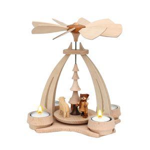 72 0018 Holz Teelicht-Tischpyramide Schafe   Schäfer SIGRO