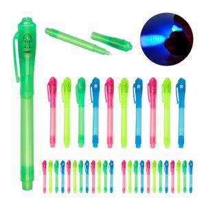 relaxdays 36 x UV-Stifte Geheimstifte UV Pen Zauberstifte UV-Licht Stifte Set Kinder bunt
