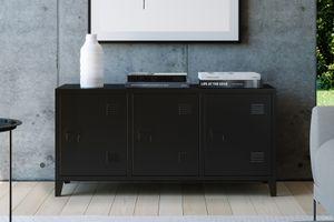 HOMEXPERTS Sideboard COLLEGE, Kommode in Spind-Optik, Breite 120 cm,TV-Board Metall schwarz