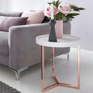 WOHNLING Design Beistelltisch Weiß / Kupfer ø 40 cm Tabletttisch Holz Metall | Wohnzimmertisch mit Tablett Sofatisch modern | Kaffeetisch rund