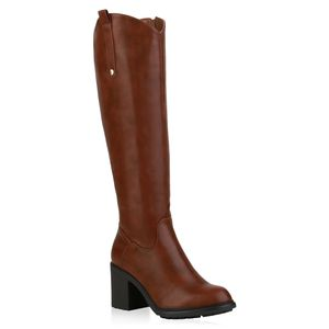 Mytrendshoe Damen Klassische Stiefel Leicht Gefütterte Profil-Sohle Schuhe 835642, Farbe: Hellbraun, Größe: 38