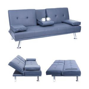 3er-Sofa HWC-F60, Couch Schlafsofa Gästebett, Tassenhalter verstellbar 97x166cm  Kunstleder, dunkelblau