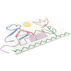 EDUPLAY Playboards mit Verbindern, 4 x 19,5 x 28 cm, farbige Schnüre, Fädelstifte, mehrfarbig (1 Set)