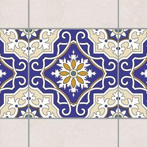 Fliesen Bordüre - Spanisches Fliesenornament 10cm x 10cm - Fliesenaufkleber Crème Blau, Setgröße:10teilig