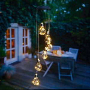 Solar Windspiele für Draußen, Windspiel mit Beleuchtung, warm-weiß oder Farbwechsel, Solarleuchte zum Hängen, wasserdicht, solarbetrieben (Glühbirne)