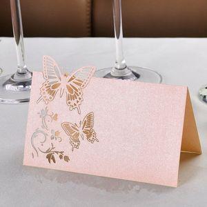 50pcs Schmetterling Platzkarten Tischkarten Namenskarten Hochzeitskarten Gastgeschenk Geburtstag Taufe Hochzeitsfeier Party Tischdeko Farbe Rosa